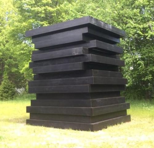 Sean Scully 	BLACK STACKED FRAMES  2017 	Formed steel with painted finish 	15 x 11 x 11 feet 	4.5 x 3.3 x 3.3 meters