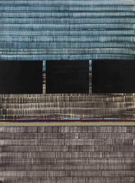 Juan Uslé SOÑE QUE REVELABAS (NILO AZUL) 2015 Vinyl, dispersion, acrylic and dry pigment on canvas 108 1/2 x 80 inches 275.6 x 203.2 centimeters