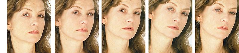 Roni Horn 	UNTITLED (ISABELLE HUPPERT) 2005 	Sequence of 5 C-prints 	15 1/2 x 13 x 1 inches (each) 	39.4 x 33 x 2.5 centimeters (each)