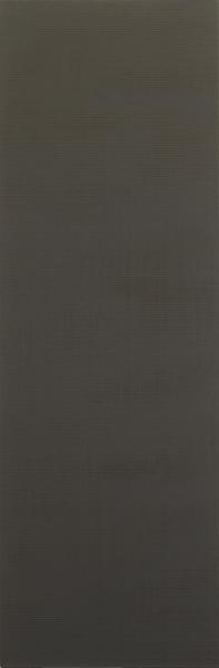 Sean Scully 	VERTICAL BLACK  1979 	Oil on canvas 	84 x 28 inches 	213.4 x 71.1 centimeters