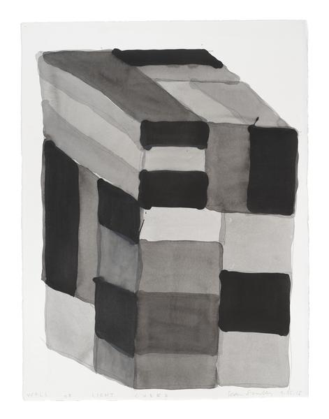 Sean Scully 	WALL OF LIGHT CUBED 9.25.15  2015 	Watercolor on paper 	30 x 22 1/4 inches 	76.2 x 56.5 centimeters