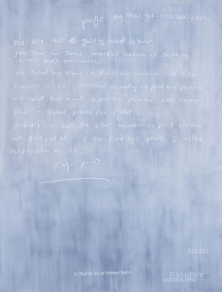 Jenny Holzer 	We are not 2014 	Oil on linen 	58 x 44 x 1 1/2 inches 	147.3 x 111.8 x 3.8 centimeters