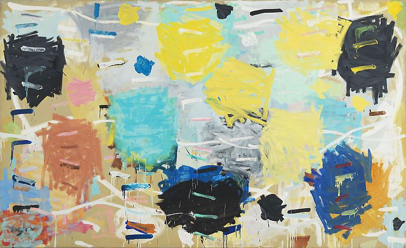 Stanley Whitney 	SIXTEEN SONGS 1984 	Oil on linen 	66 x 108 inches 	167.6 x 274.3 centimeters