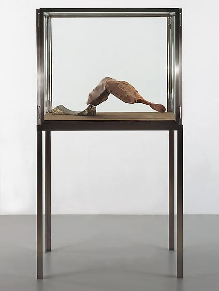 Louise Bourgeois 	ARCHED FIGURE NO. 2, 1997 	Fabric, nylon, bone and steel with glass, wood and stainless steel vitrine 	70 x 38 x 18 inches with vitrine 	177.8 x 96.5 x 45.7 centimeters 	12 x 9 1/2 x 33 inches 	30.5 x 24.1 x 83.8 centimeters