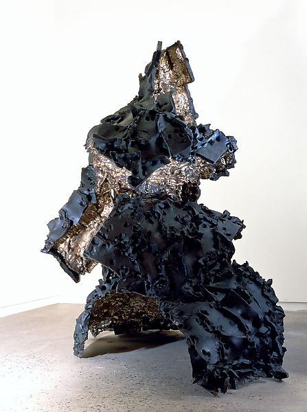 Lynda Benglis 	CLOAK-WAVE / PEDMARKS, 1998 	Bronze, black patina 	85 1/2 x 86 x 42 1/2 inches 	217.2 x 218.4 x 108 centimeters