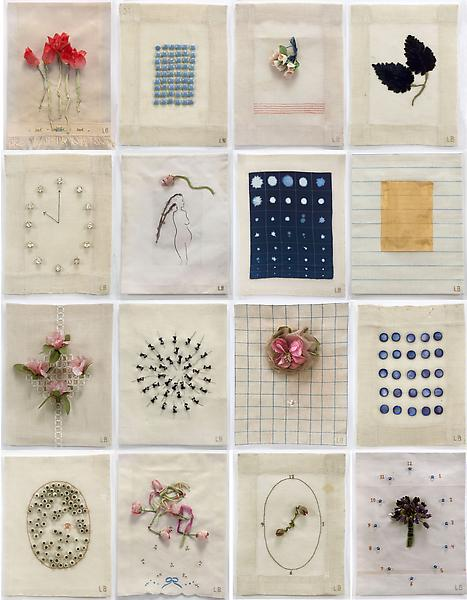 Louise Bourgeois EUGÉNIE GRANDET 2009 Mixed media on cloth, suite of 16 11 1/4 x 8 1/2 inches each 28.6 x 21.6 centimeters each