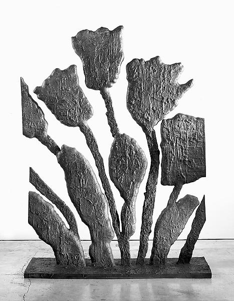 Donald Baechler 	FLOWERS WITH CUT SIDES   2007 	Bronze, silver nitrate patina 	72 x 54 x 18 inches 	182.9 x 137.2 x 45.7 centimeters