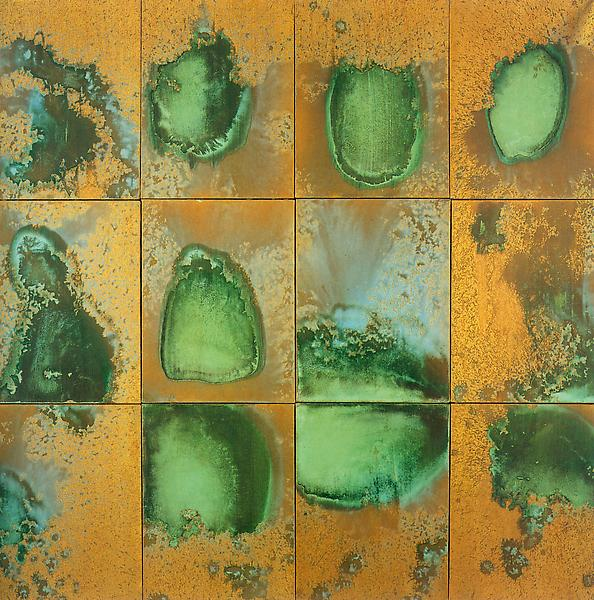 Andy Warhol (1928 - 1987) 	OXIDATION PAINTING, 1978 	Copper metallic pigment mixed with mixed media on canvas 	48 x 49.5 inches 	121.9 x 125.7 centimeters