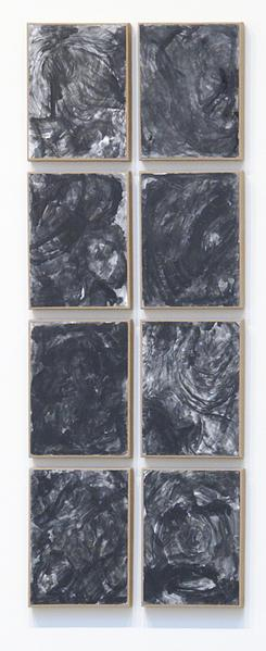 Jack Pierson What happened last night 2014 Graphite and graphite powder on paper mounted on linen; 8 elements 61 1/2 x 23 3/4 x 3/4 inches overall 156.2 x 60.3 x 1.9 centimeters overall