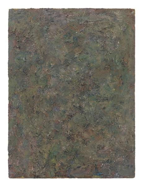 Milton Resnick 	BRND O  1982 	Oil on board 	40 x 30 inches 	101.6 x 76.2 centimeters 	RS.15097